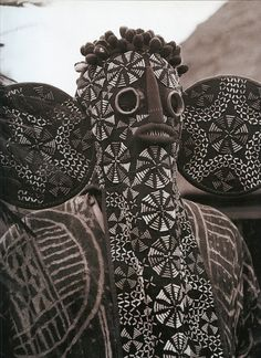"Dogon Mask, Africa : ""This 'elephant-mask' with its long hood nose and large ears and decorated with multicoloured beads, is characteristic of the Bamileke secret society in West Cameroon, to whom it is unique."" 