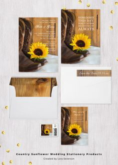 Set the tone for your casual yet classy marriage ceremony and reception with the charming Country Sunflower Wedding Invitations, Save the Date Announcements, Thank You Cards and Postage Stamps. This coordinated rustic wedding collection features a quaint floral photograph of a pair of brown leather western cowboy boots and yellow sunflower blossom with a barn wood background. #westernwedding #barnwedding
