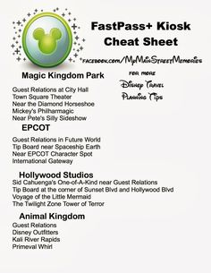 DISNEY FAST PASS CHEAT SHEET!! just call me B!: FastPass+ Cheat Sheet :)