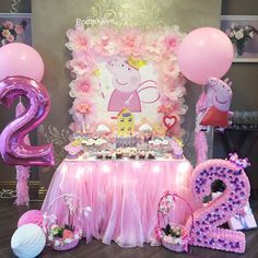 Peppa Pig Birthday Party Cake display Chuck any birthday celebration which is uncomplicated, fashionable, and Second Birthday Ideas, 3rd Birthday Parties, Birthday Party Decorations, 2nd Birthday, Fiestas Peppa Pig, Cumple Peppa Pig, Peppa Pig Balloons, Pig Birthday Cakes, Princess Peppa Pig Party