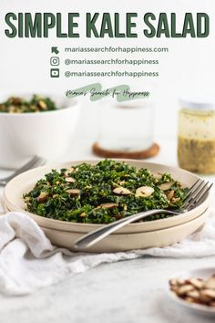 This simple kale salad consists of just 9 ingredients and takes less than 10 minutes to make. #saladrecipes #kalerecipes #thanksgivingsides #thanksgivingsiderecipes #plantbased #plantbasedlunch #plantbaseddinner #vegetarianmeals #vegetarianlunch #vegetariandinner #veganlunch #veganmeals #vegandinner #vegandinnerrecipes #veganlunchrecipes Salad Recipes Gluten Free, Kale Salad Recipes, Vegetarian Salad Recipes, Salad Dressing Recipes, Vegan Dinner Recipes, Delicious Vegan Recipes, Vegan Dinners, Lunch Recipes, Healthy Recipes