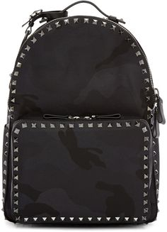 Valentino Black Medium Camo Rockstud Backpack