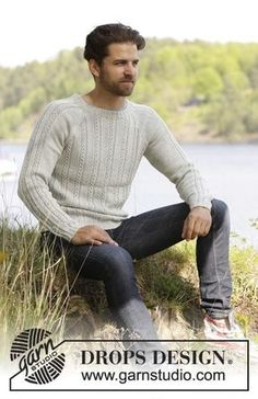 Twin River - Knitted DROPS men's jumper with textured pattern and raglan in Nepal. Size: S - XXXL. - Free pattern by DROPS Design Sweater Knitting Patterns, Knitting Stitches, Free Knitting, Crochet Patterns, Drops Design, Nepal, Twin River, Magazine Drops, How To Purl Knit