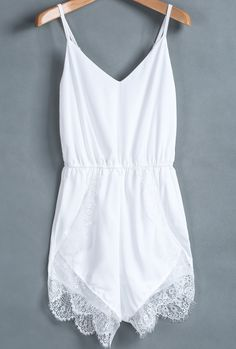 white lacey jumpsuit.