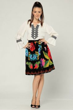 romanian traditional skirt reinvented Waist Skirt, High Waisted Skirt, Traditional Skirts, Folk Fashion, Costumes, Embroidery, Floral, Fashion Design, Outfits