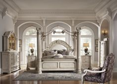 Monte Carlo II King Canopy Bedroom Set | AICO | Home Gallery Stores