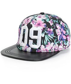 Effortlessly finish any outfit in legit fashion with this floral print snapback hat that features a faux leather bill and a large 09 embroidery at the front.