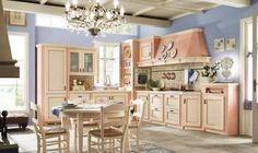 Shabby Chic kitchen – interior designs with attention to detail Pastel Kitchen Decor, Shabby Chic Kitchen Decor, Rustic Kitchen, Country Kitchen, Kitchen Chairs, Kitchen Furniture, Cuisines Design, Küchen Design, Interior Design Kitchen
