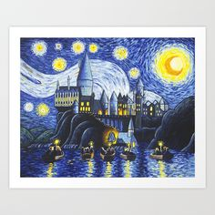 Buy Starry Night At Hogwarts Art Print by jpkartwork. Worldwide shipping available at Society6.com. Just one of millions of high quality products available.
