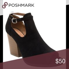 🎉SALE🎉Ladies peep toe ankle buckle strap bootie 🎉THIS WEEKEND ONLY🎉Very stylish high top ankle  buckle open toe chunky heels  booties for ladies. Black color. Brand new in box. Around tiny bit less than 4 inches heels. Man made suede.available also in taupe and Mauve colors NO TRADES shoeroom21 boutique Shoes Ankle Boots & Booties