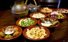 A sampling of middle eastern food with emphasis on egyptian