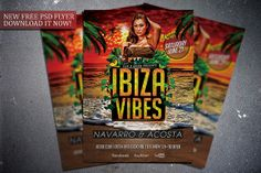 Free Ibiza Vibes flyer template. Download it for free here:  http://flipngecko.deviantart.com/art/Free-Ibiza-Vibes-Flyer-Template-456952936