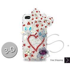 Bow Heart 3D Bling Swarovski Crystal iPhone 5 Cases - White