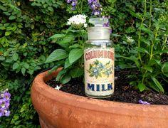 Vintage Milk Jar/Vintage Glass/Columbine Milk Label/Apothecary Jar/Bathroom Storage Jar/Vintage Wheaton Glass Co Medication Bottle/T.C.W-Co. by aLaRoad on Etsy