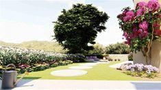 διακόσμηση κήπου Σχεδιασμός και  διακόσμηση κήπου με ιδιαίτερο  στυλ. Διαμόρφωση εξωτερικών χώρων. Baseball Field, Garden Design, Golf Courses, Dolores Park, Landscape Designs, Yard Design