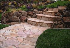 Another beautiful Arizona Flagstone walkway and stairs! We carry a great selection of random flagstone at all of our 4 SoCal locations Flagstone Pathway, Outdoor Walkway, Outdoor Landscaping, Front Yard Landscaping, Walkways, Landscaping Ideas, Rock Walkway, Outdoor Dining, Sloped Front Yard