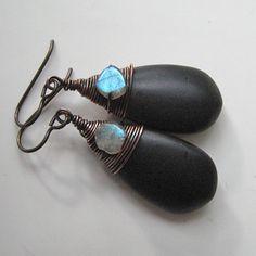 Earrings Black Howlite Labradorite.  Black by SuzyRocksDesigns, $36.00