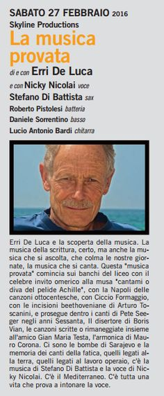 La Musica Insieme Tour 2015. Stefano Di Battista, Nicky Nicolai, Erri De Luca