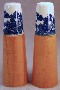 Vintage English Wood Salt & Pepper Shakers with Blue Willow Transferware Tops