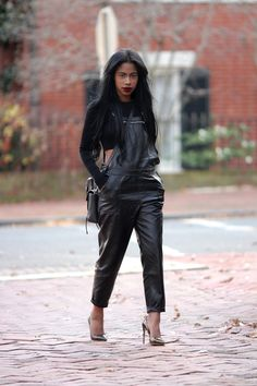 ROCHELLE:   Crop Top Zara / Faux Leather Overalls Nastygal /... Beautiful Outfits, Cool Outfits, Casual Outfits, Fashion Outfits, Women's Fashion, Leather Overalls, Leather Pants, Mode Ootd, My Black Is Beautiful