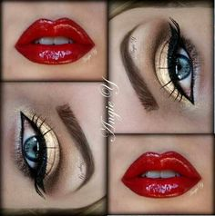 Gold eyes, red lips