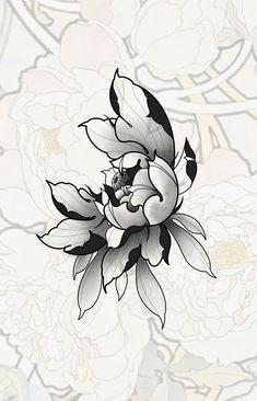 Japanese Flower Tattoo, Japanese Tattoo Designs, Japanese Flowers, Japanese Art, Lotus Tattoo Design, Flower Tattoo Designs, Flower Tattoos, Sun Tattoos, Black Tattoos