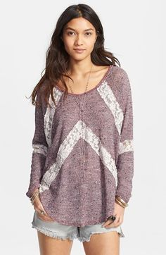 Free shipping and returns on Free People 'Flying V' Lace Inset Pullover at Nordstrom.com. Romantic lace insets offer chevron inspiration to a comfy textured sweater finished with a smooth, rounded hem.