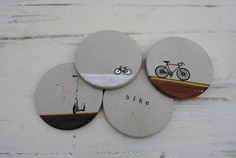 Concrete Coasters. Transform nightcaps and morning coffees into an industrial affair with this set of four concrete coasters. Each coaster features