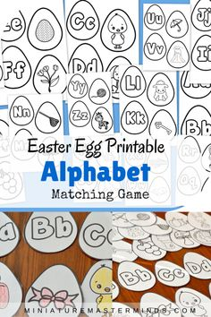 Easter Egg Printable Alphabet Beginning Letter Matching Game. Free printable game about matching the letters to the words that begin with