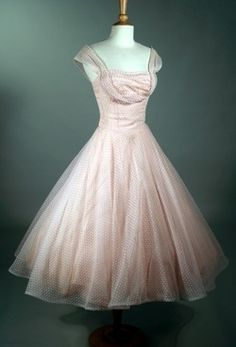 50's Vintage PINK DOTTED Mesh Tulle Party Cocktail Dress
