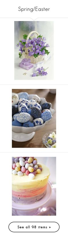 """""""Spring/Easter"""" by lilarose111 ❤ liked on Polyvore featuring home, home decor, holiday decorations, flower home decor, flower stem, easter home decor, easter, backgrounds, cupcakes and slike"""