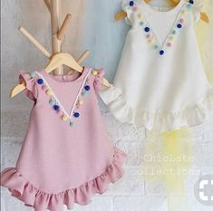 Examples of t-shirt decoration, examples of t-shirt decoration, # penylage … – KinderMode Frocks For Girls, Kids Frocks, Little Girl Dresses, Girls Dresses, Baby Dresses, Baby Dress Design, Baby Girl Dress Patterns, Little Girl Fashion, Kids Fashion