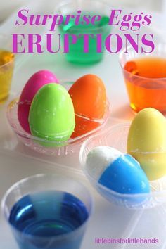 Surprise eggs for kids! Easter science activity with surprise eggs eruptions for kids. A fun Easter activity, kids will love this cool chemical reaction, toy surprise, and fun sensory play all in one easy to set up activity. Baking soda and vinegar science for preschool and kindergarten science.