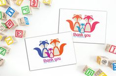 Elephant familybaby thank you folded notecard baby announcement fox family thank you cards folded baby note cards set of ten personalized cards fun family note cards custom note cards thank you cards colourmoves