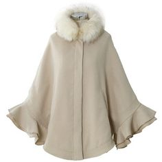 Chicwish Detachable Faux Fur Collar Ruffle Cape in Apricot