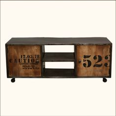 Industrial Shipping Crate Reclaimed Wood & Iron Media TV Cabinet
