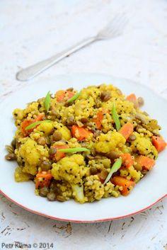 Arabské jáhly s květákem a čočkou Lunch Recipes, Healthy Recipes, Quinoa, Fried Rice, Risotto, Food And Drink, Veggies, Vegetarian, Cooking