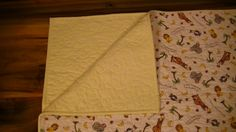 Whole Cloth Baby Quilt Bazoople Friends - handmade quilted yellow flannel animals crib by TravisCreek on Etsy