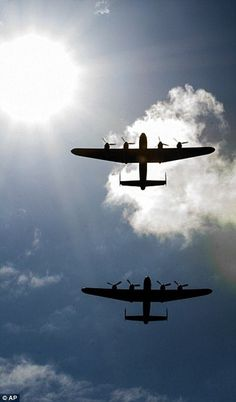 The Lancaster Thumper, flying as part of the RAF Battle of Britain Memorial Flight, was joined by the Canadian Lancaster Vera from Ontario Read more: http://www.dailymail.co.uk/news/article-2724404/Dambusters-reunited-Two-Second-World-War-Lancaster-bombers-fly-time-50-years.html#ixzz3BnRbmlY6 Follow us: @MailOnline on Twitter | DailyMail on Facebook