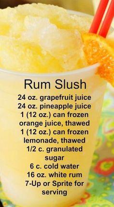Rum Slush Refreshing citrus taste and super-cool slushiness. - Sprite - Ideas of Sprite - Rum Slush Refreshing citrus taste and super-cool slushiness. Party Drinks, Cocktail Drinks, Fun Drinks, Yummy Drinks, Cocktail Recipes, Margarita Recipes, Summer Cocktails, Drinks With Rum, Rum Mixed Drinks