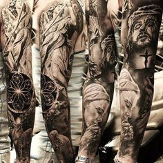 tattoos lower stomach, jasmine tattoo artist, upper arm wrap around tattoos, cherry blossom represen Best Sleeve Tattoos, Tattoo Sleeve Designs, Body Art Tattoos, Jesus Tattoo Sleeve, Trendy Tattoos, Tattoos For Guys, Cool Tattoos, Mens Tattoos, Wrap Around Tattoo