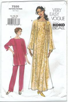 Vogue Sewing Patterns, Easy Sewing Patterns, Vintage Sewing Patterns, Clothing Patterns, Sewing Ideas, Fashion Patterns, Clothing Ideas, Vintage Clothing, Plus Size Patterns