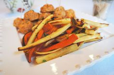 Buffalo chicken meatballs with carrot and parsnip fries
