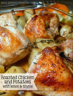 Joyously Domestic: Roasted Chicken and Potatoes with lemon and thyme Think Food, Food For Thought, Turkey Recipes, Chicken Recipes, Turkey Dishes, Game Recipes, Roasted Chicken And Potatoes, Roasted Meat, Roasted Chicken Thighs