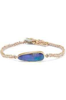 Ellipse 18-karat gold, opal and silk bracelet