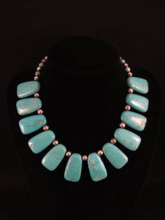 Pueblo Silver and Turquoise Necklace
