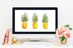 Tres Piñas Desktop Wallpaper by HNIllustration on Etsy