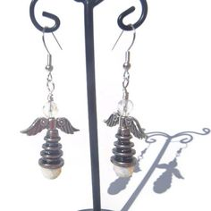 Angel and Opalite Crystal Dangle Earrings  1 by EBLDesigns on Etsy,