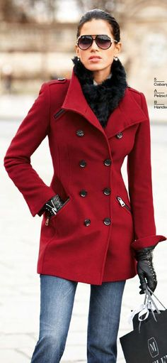 the perfect red jacket; love this maybe i should give my old red jacket another whirl? Mode Outfits, Winter Outfits, Dress Outfits, Fashion Dresses, Look Fashion, Womens Fashion, Fashion Trends, Luxury Fashion, Fall Fashion