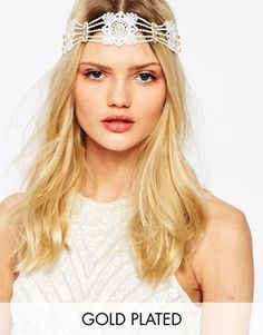 Olivia The Wolf Lace Pearls & Gold Crystal Headband